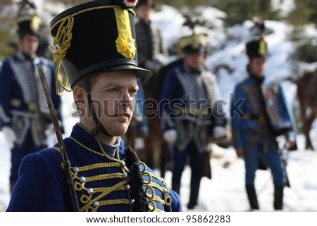 HARGHITA, ROMANIA - MARCH 15: Hungarian cavalryman at commemoration of 163nd anniversary of the Hungarian Revolution on March 15, 2011 in Harghita, Romania - stock photo