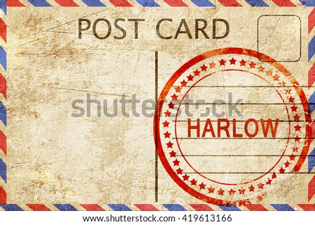Harlow, vintage postcard with a rough rubber stamp