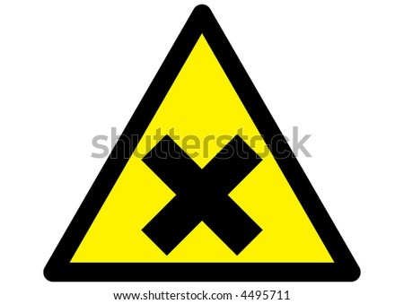 Harmful irritant symbol on triangular yellow sign with black edge