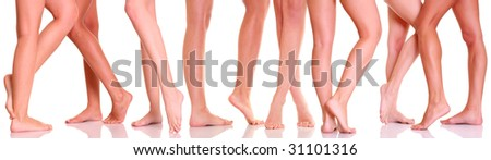 Harmonous legs of nine girls, isolated on a white background, please see some of my other parts of a body images