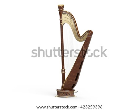 Harp aged isolated on white 3D rendering
