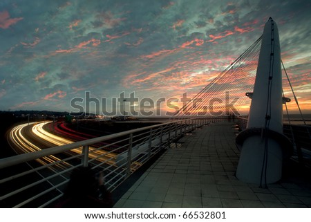 Harp Bridge Sunset for background or others purpose use - stock photo
