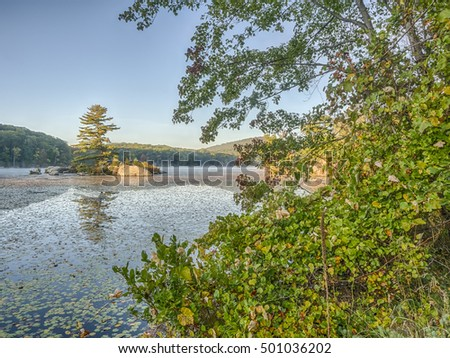 Harriman State Park, New York State on lake in early morning in autumn