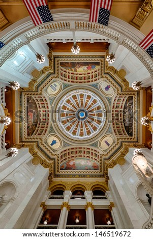 HARRISBURG, PENNSYLVANIA - JULY 5: Interior dome of the Pennsylvania State Capitol building on July 5, 2013 in Harrisburg, Pennsylvania