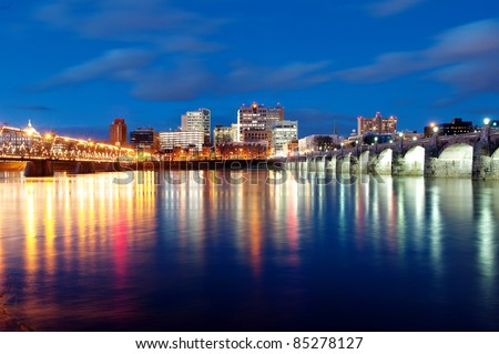 Harrisburg, Pennsylvania Skyline at Night - stock photo