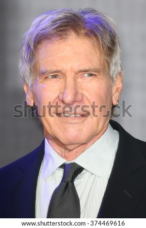 """Harrison Ford at the European premiere of """"Star Wars: The Force Awakens"""" in Leicester Square, London.  December 16, 2015  London, UK Picture: James Smith / Featureflash - stock photo"""