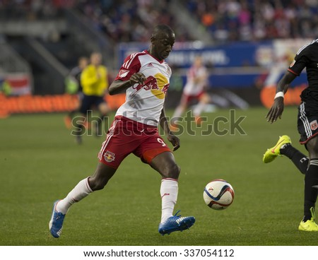 Harrison, NJ - November 8, 2015: Red Bulls Bradley Wright-Phillips (99) controls ball during playoff conference semifinal between New York Red Bulls and D.C. United on Red Bulls Arena