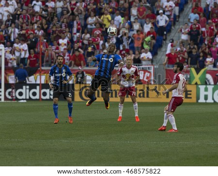 Harrison, NJ USA - August 13, 2016: Didier Drogba (11) of Montreal Impact controls ball during MLS game between New York Red Bulls & Montreal Impact NYRB won 3 - 1