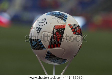 Harrison, NJ USA - July 6, 2016: Official MLS ball on display used during friendly game between New York Red Bulls against Club America of Liga MX Mexico at Red Bull arena Red Bulls won 2 - 0 - stock photo