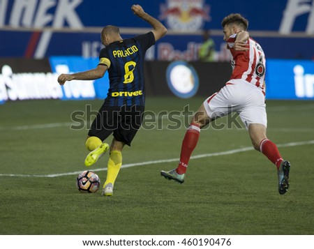 Harrison, NJ USA - July 27, 2016: Palacio (8) of FC Inter controls ball during friendly game between FC Inter Milan & Estudiantes de La Plata at Red Bulls Arena ended in tie 1 -1