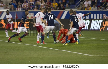 Harrison, NJ USA - May 27, 2017: Bradley Wright-Phillips (99) of Red Bulls scores goal during MLS game against New England Revolution on Red Bull Arena, Red Bulls won 2 - 1