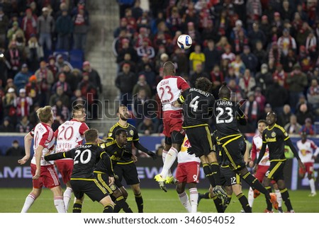 Harrison, NJ USA - November 29, 2015: Players of New York Red Bulls & Columbus Crew SC fight for ball in Columbus penalty box during MLS Eastern Conference Final - stock photo