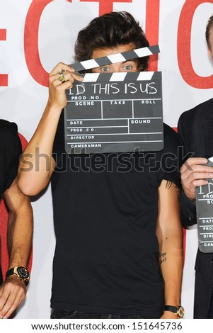 Harry Styles from One Direction at the One Direction This is Us film - press conference, London. 19/08/2013 - stock photo