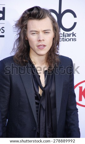 Harry Styles of One Direction at the 2015 Billboard Music Awards held at the MGM Garden Arena in Las Vegas, USA on May 17, 2015.  - stock photo