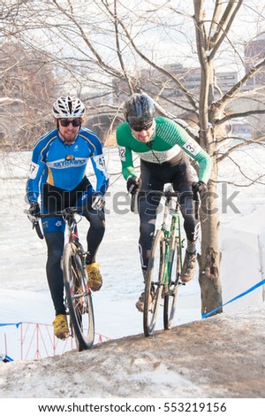 HARTFORD, CONNECTICUT - Riders compete in the elite men's race at the cyclocross nationals on January 8, 2017 in Hartford, Connecticut