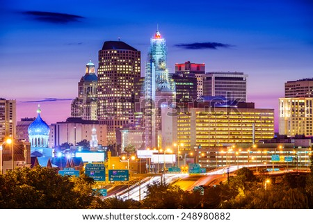 Hartford, Connecticut, USA downtown city skyline over the highway. - stock photo