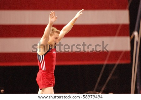 HARTFORD, CT - AUGUST 11: Olympic medalist Jonathan Horton competes during the first round of the men's competition at the VISA Gymnastics Championships in Hartford, CT on August 11, 2010.