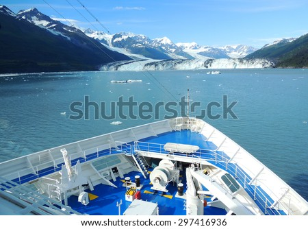 Harvard Glacier from a ship in College Fjord, Alaska. - stock photo