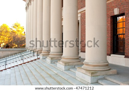 Harvard Library Entrance Columns and Steps in a sunny day