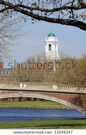 Harvard University Eliot House and John W. Weeks Bridge in early spring, Cambridge, Massachusetts - stock photo