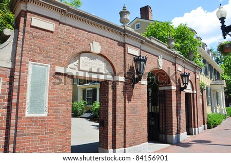 Harvard University Gate, Cambridge, Massachusetts, USA - stock photo