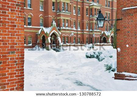 Harvard Yard in the Winter - stock photo