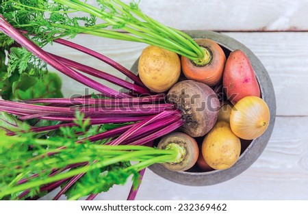 Harvest of fresh vegetables on a wooden table - stock photo