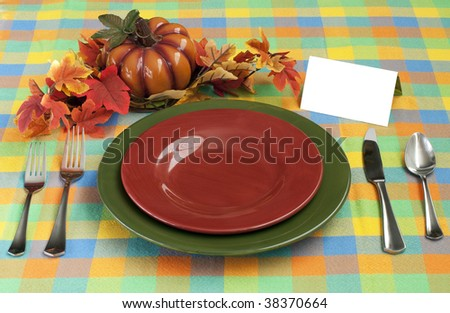 Harvest Place setting with card - stock photo