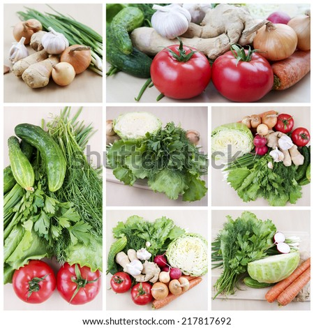 Harvest. Still life with healthy fresh vegetables. - stock photo