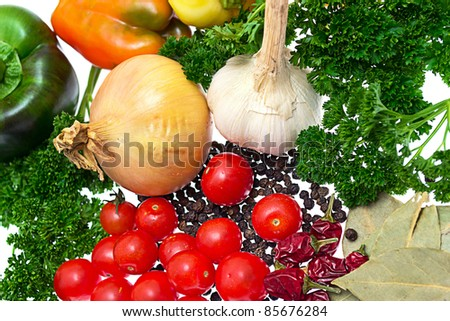 Harvest vegetables isolated on a white background