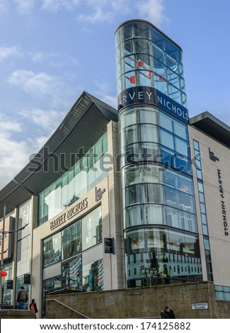Harvey Nichols, Manchester, UK - January 27: The popularity of the Corn Exchange in Manchester on January 27th 2013 has spurred on a redevelopment process for the area. - stock photo