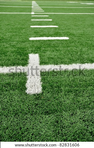 Hash Marks on an American Football Field - stock photo