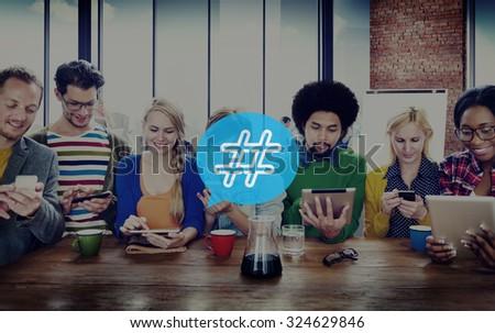 Hashtag Icon Social Media Blog Post Concept - stock photo