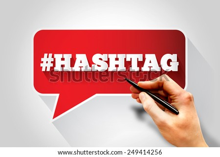 Hashtag sign text message bubble, business concept - stock photo