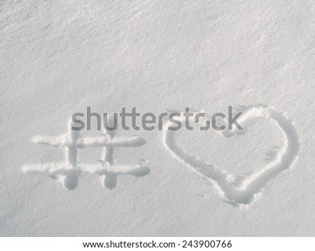 Hashtag snow heart, love concept, Valentine day celebration greeting card background, selective focus - stock photo