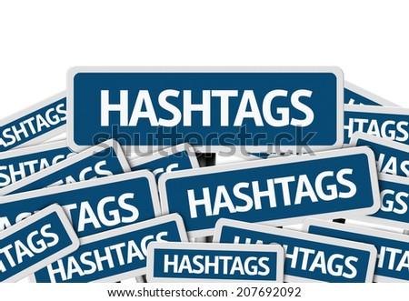Hashtags written on multiple blue road sign - stock photo