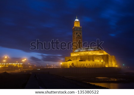 Hassan II Mosque in Casablanca in night, Morocco Africa - stock photo