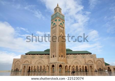 Hassan II Mosque in Casablanca Morocco, Africa - stock photo