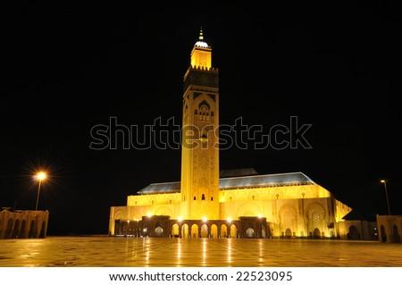 Hassan II Mosque in Casablanca, Morocco Africa - stock photo