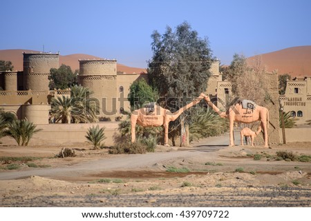 Hassilabied, Morocco - January 20th, 2016: Kasbah Tombouctou with famous camels statue. Kasbah is a luxury hotel in Hassilabied