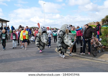 HASTINGS, ENGLAND - MARCH 23, 2014: Runners dressed in Rhino costumes take part in the annual Hastings Half Marathon race at Hastings in East Sussex. This was the 30th year the event has been held. - stock photo