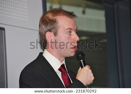 HASTINGS, ENGLAND - NOVEMBER 10, 2014: Jonathan Reynolds, Shadow Minister for Energy and Climate Change and Labour M.P. for Stalybridge and Hyde, speaks at an energy efficiency policy launch. - stock photo