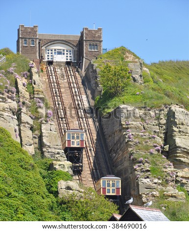 HASTINGS, UK - JUNE 8, 2015. The East Hill Cliff Railway, a funicular double track opened in 1903 and links the cliff top Country Park to beach level at Hastings, East Sussex,  England, UK.