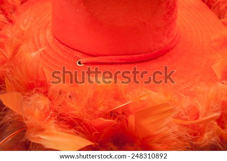 Hat and boa in an orange colour as tipical accessories on  King's Day in Amsterdam. - stock photo
