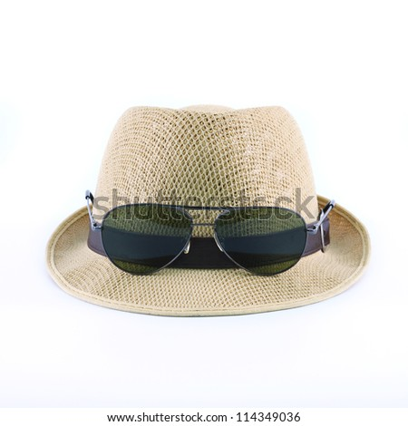 hat and sunglasses isolated on a white background - stock photo