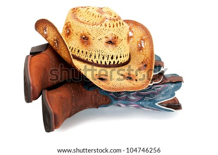 hat in boots isolated on white background - stock photo