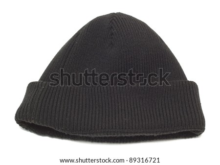 Hat knit from wool isolated on white background - stock photo