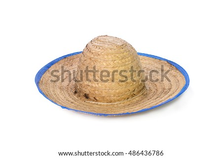 hat made of woven bamboo on white background