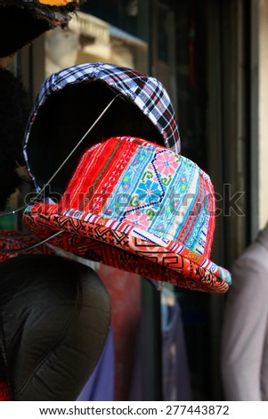 Hat made with cotton at market Chiangmai, Thailand