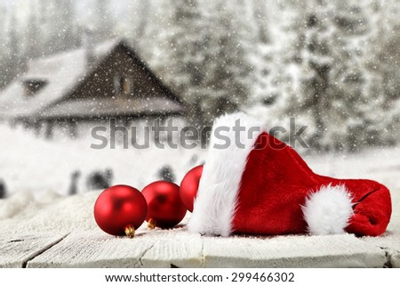 hat of red color and red balls  - stock photo